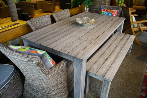 Patio Table With Bench Seating by Reclaimed Teak Dining Table Outdoor Dining Set Okemos Mi