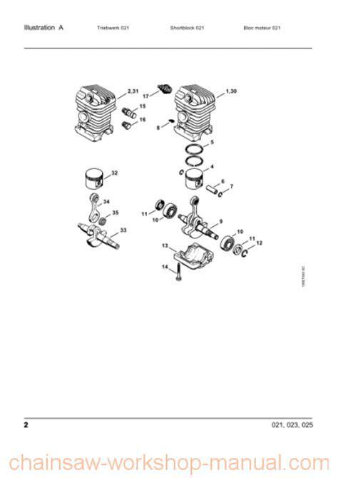 Stihl 023 Parts List Manual   Chainsaw