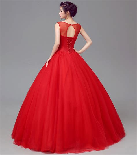 bateau neck gold floral embroidered red illusion wedding