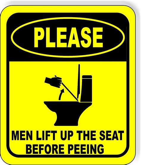 men lift   seat  peeing metal aluminum composite bat work house signs