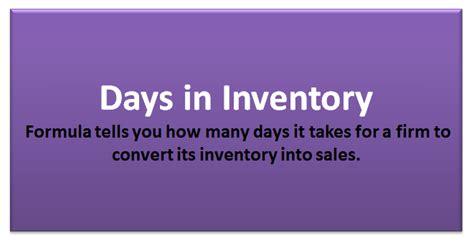 days  inventory formula calculator  excel template