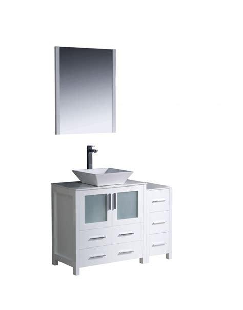 42 inch vessel sink bathroom vanity in white