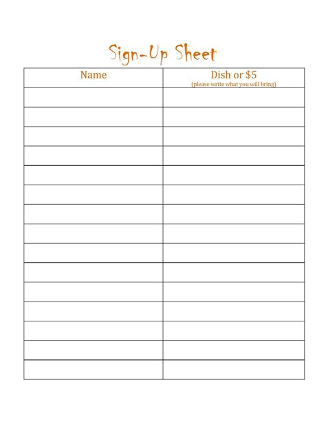 sign templates free potluck sign up template simple loving printable