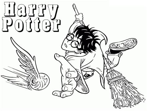 Harry Playing Quidditch Coloring Page Free Printable