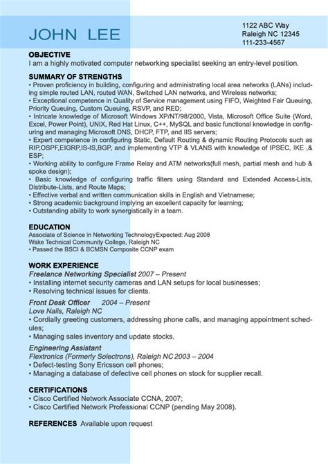 exle resume entry level resume sle