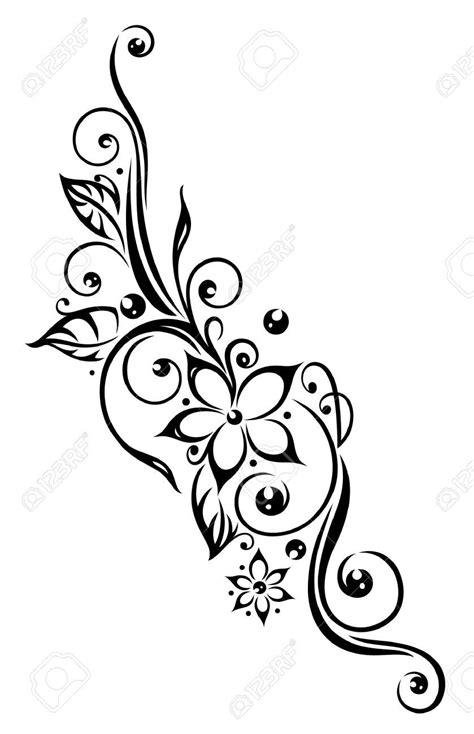 Black Flowers Illustration, Tribal Tattoo Style Flor