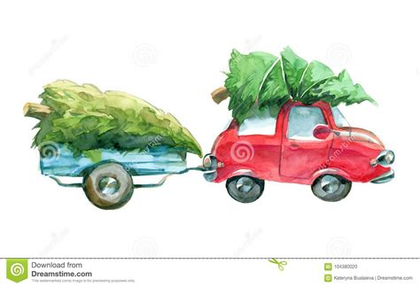 red car  blue trailer  green christmas tree  top
