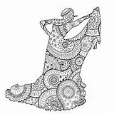 Flamenco Dancer Coloring Patterns Zentangle Stress Anti Paisley Pages Shape Zen Adult Female Adults Justcolor sketch template