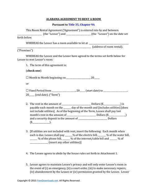 alabama room rental lease agreement  rtf