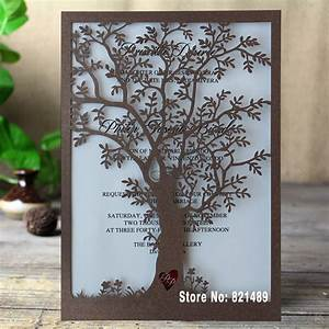 rustic tree wedding invitation laser cut tree invitations With wedding invitation packs 50