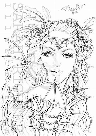 Mina Coloring Gothic Printable Fantasy Pdf Colouring