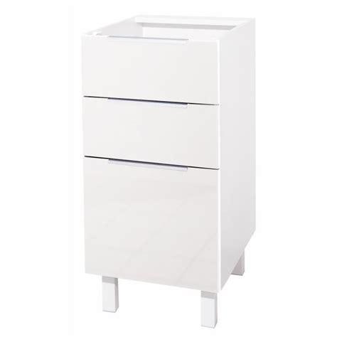 meuble bas cuisine 40 cm largeur pop meuble bas de cuisine l 40 cm blanc brillant achat