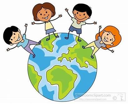 Clipart Globe Children Multicultural Around Classroom