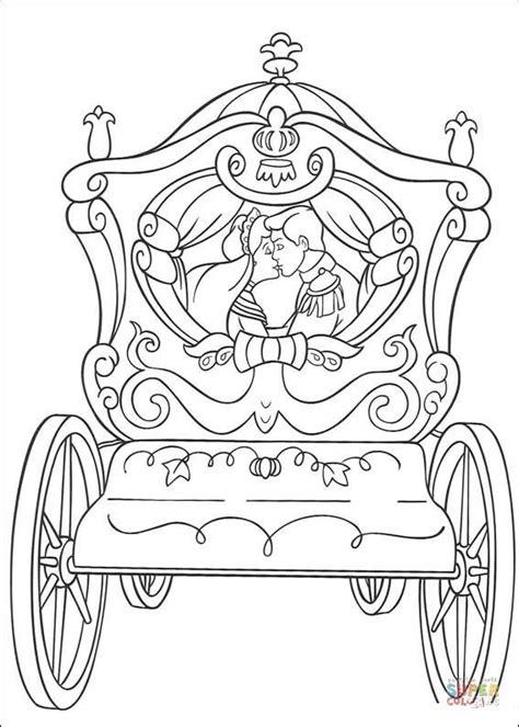 disegno  la carrozza nuziale  cenerentola da colorare
