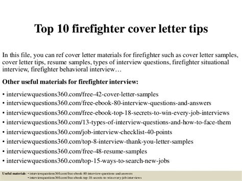 Firefighter Cover Letter by Top 10 Firefighter Cover Letter Tips
