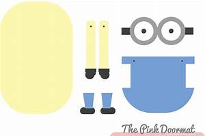 The pink doormat minion paper doll for Minion overall template
