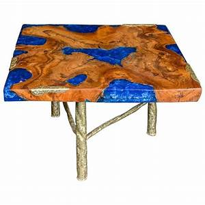 cocktail table with blue resin and wood by henri fernandez With wood and resin coffee table