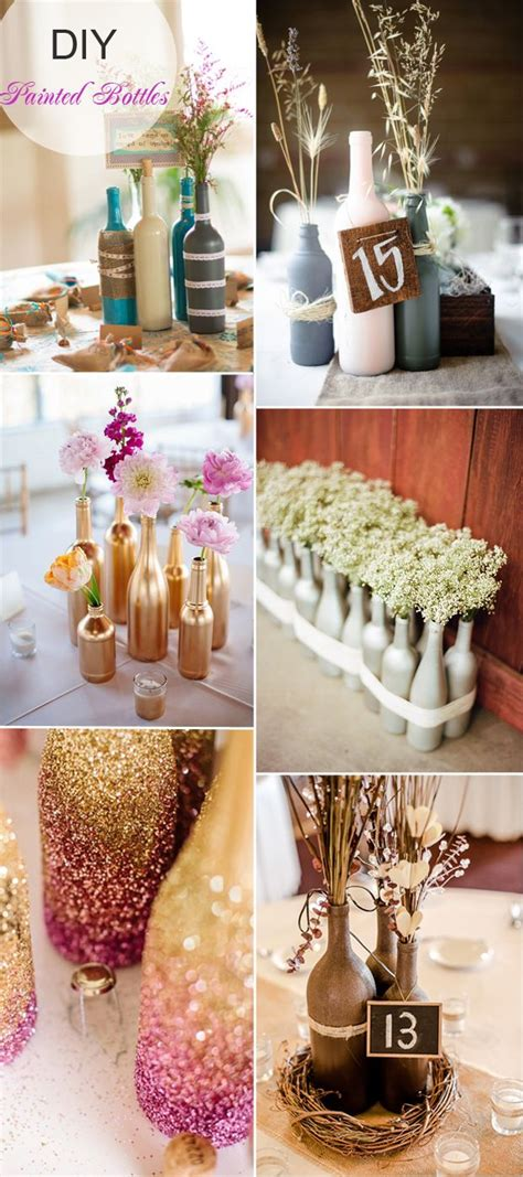 diy painted bottles wedding centerpieces  flowers