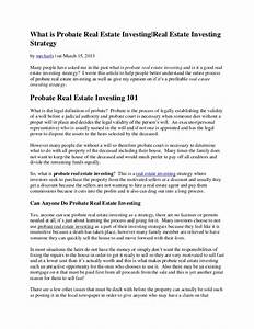 what is probate real estate investing real estate With probate real estate investing letter