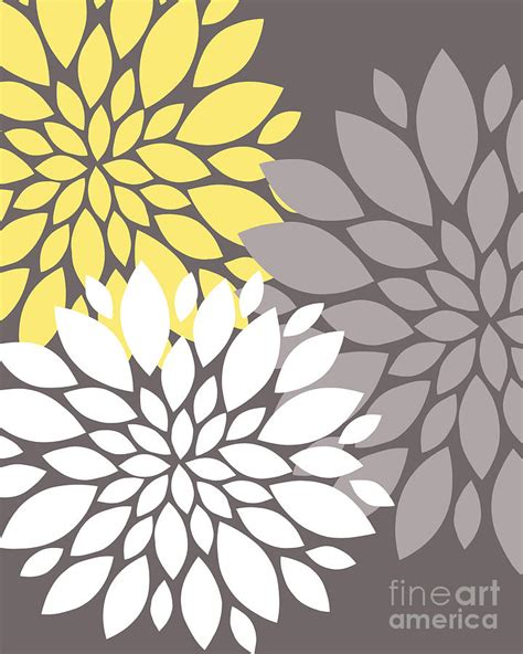 yellow white grey peony flowers digital by edit voros