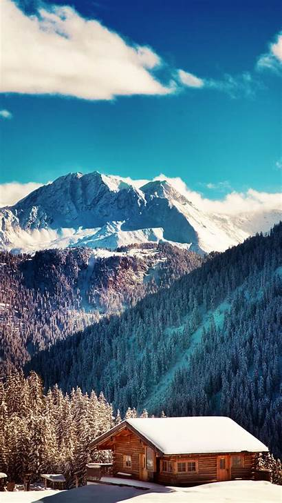 Iphone Nature Wallpapers Winter Mountains Landscape Chalet