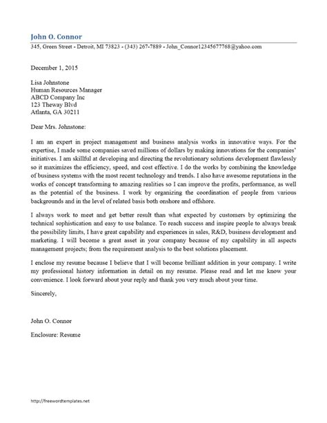 cover letter enclosure resume and references