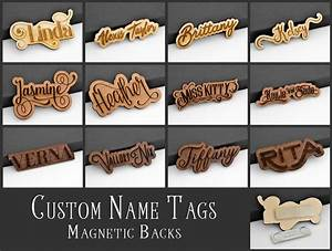 Custom name tag id badge magnetic laser engraved cut wood for Handmade name tags