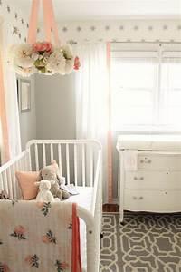 Vorhänge Für Babyzimmer : peach and gray nursery reveal my home blog pinterest kinderzimmer baby und sch ne ~ Michelbontemps.com Haus und Dekorationen