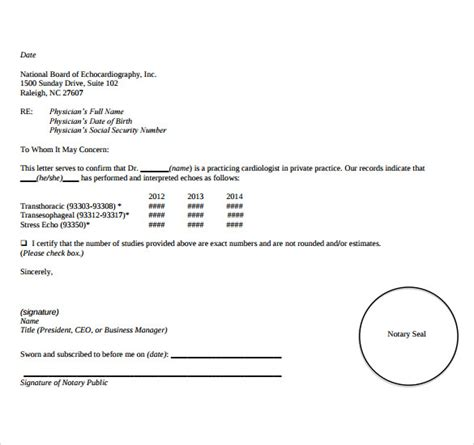 sample notarized letters  word
