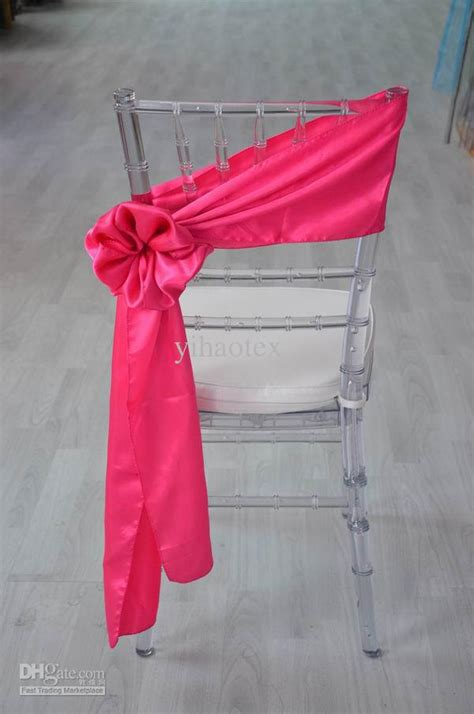 fancy self tie satin chair sash for weddingfushia from