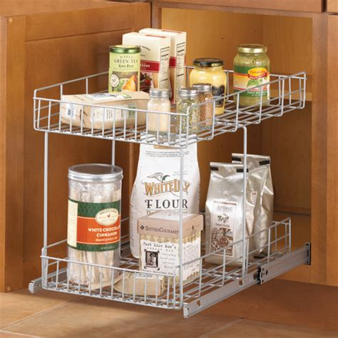 sliding cabinet organizers kitchen slide out cabinet organizer basket silver in pull out 5335