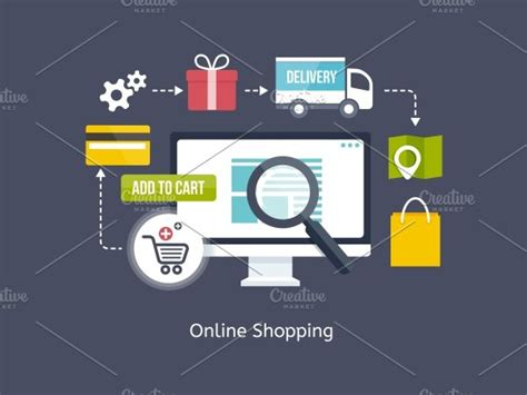shopping process infographic illustrations