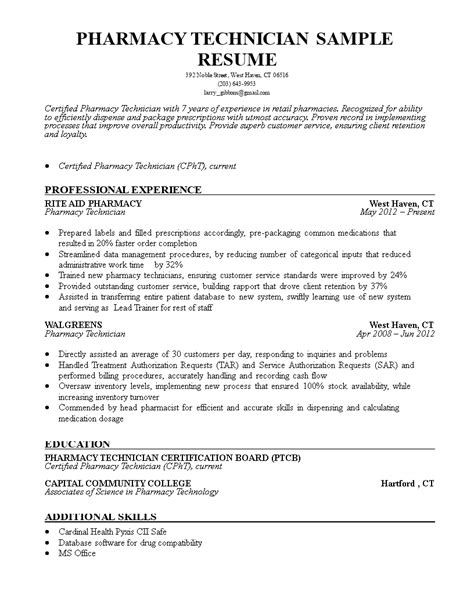 Cpht Resume by Pharmacy Technician Resume Sle Templates At