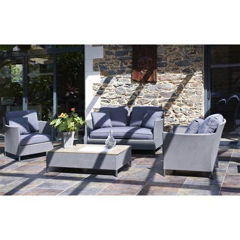Salon jardin Riade textilu00e8ne gris 1 banquette 2 fauteuils 1 table basse | Leroy Merlin