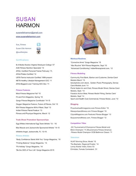 Fitness Resume by Susan E Harmon Personal Fitness Trainer And Nutrition