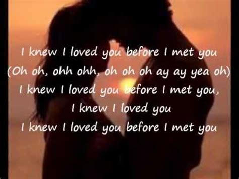 Savage Gardeni Knew I Loved You Lyrics Youtube