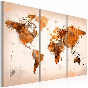 Tableau Du Monde : grand format impression sur toile images 3 parties carte du monde tableau 020113 251 ~ Teatrodelosmanantiales.com Idées de Décoration