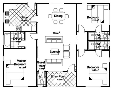3 floor plans 3 bedroom bungalow house floor planshouse plans exles