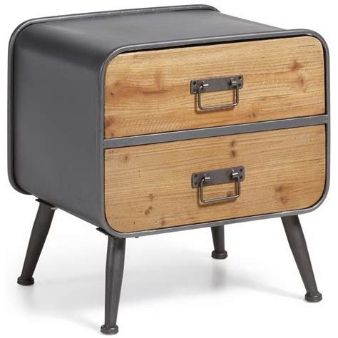 lade comodino design rudo 38x48 in metallo e legno di abete comodino con