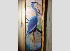 Blue Heron Painting on Reclaimed pine wood 4ftx 16