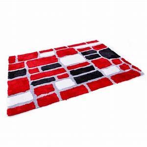 Tapis Blanc Et Gris : tapis shaggy rouge gris blanc noir 80x150 cm tap06039 pas cher ~ Melissatoandfro.com Idées de Décoration