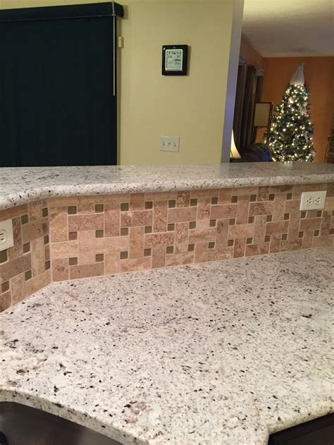 kitchen backsplash photos blanco gabrielle granite with travertine tile backsplash 2244