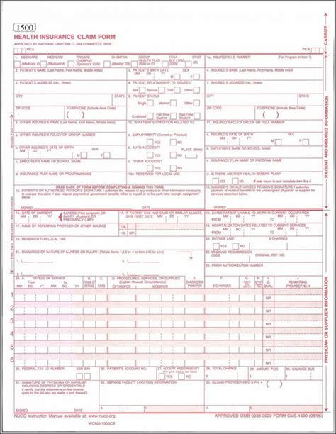 hcfa 1500 forms free download form resume exles