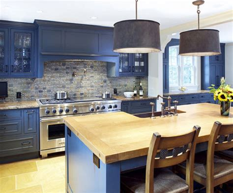 blue formica kitchen blue kitchen cabinets with wood countertops google