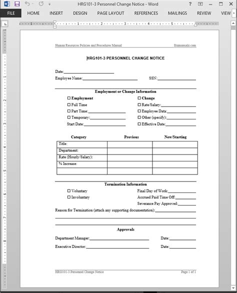 personnel form template personnel change notice template