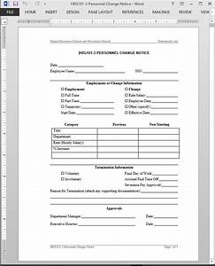 personnel change notice template With payroll change notice form template