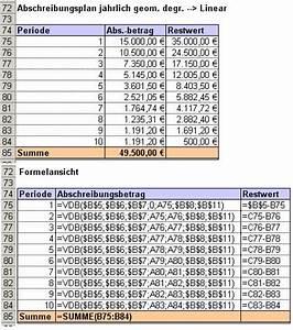 Darlehen Berechnen Formel : excel tipp abschreibungen berechnen mit den abschreibungsfunktionen ~ Themetempest.com Abrechnung