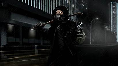 Cyberpunk Cyborg Rain Night Apocalypse Backpack Mask