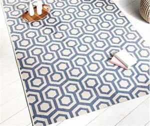 decorationcom tapis bleu et beige en polypropylne delamaison With tapis beige et bleu