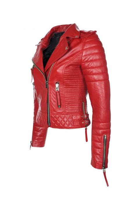 red leather motorcycle jacket women 39 s red leather quilted biker jacket